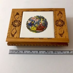 Vintage jewelry box wood burned | tile centerpiece